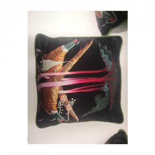 Bird Motif Black Silk Cushions set