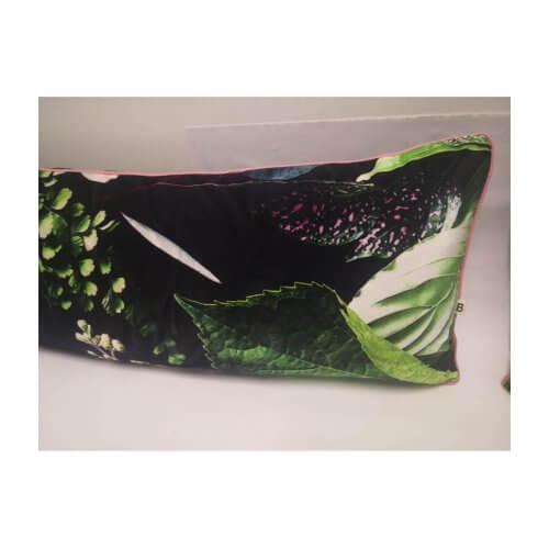 Black Velvet Cushions with Green Leaf Motif set