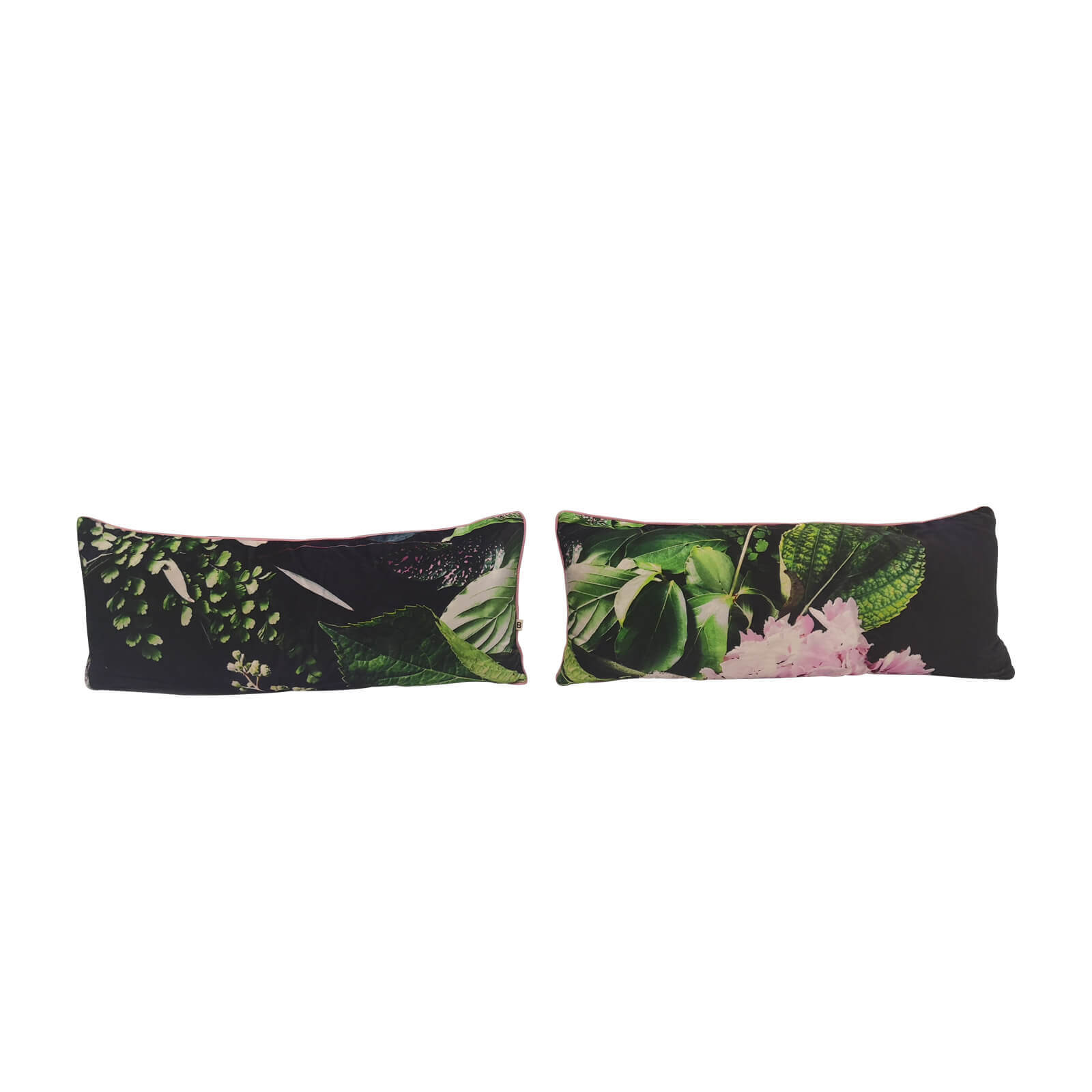 Black Velvet Cushions With Green Leaf Motif Set Of 2 Two Design Lovers