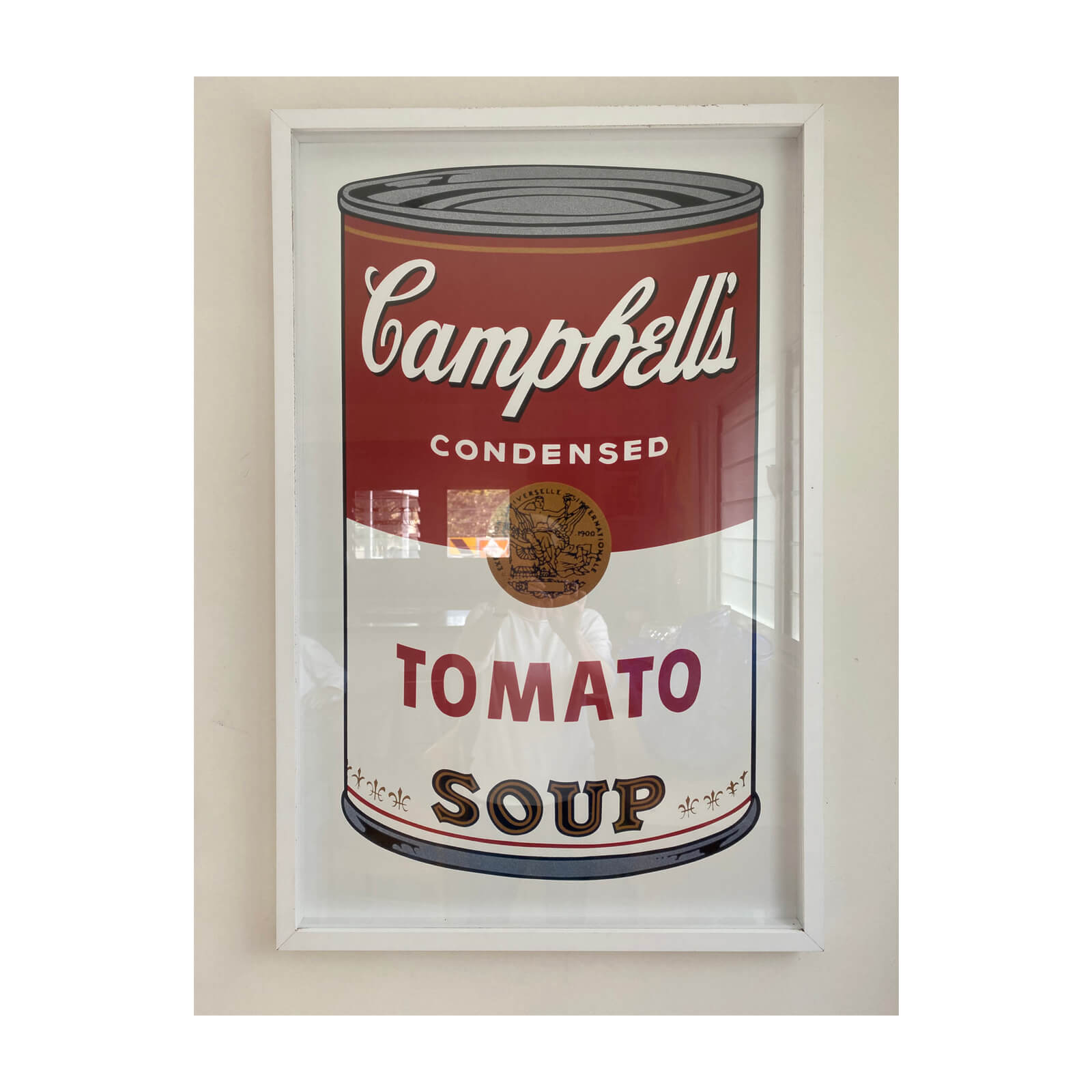 Campbells soup print in the style of Andy Warhol