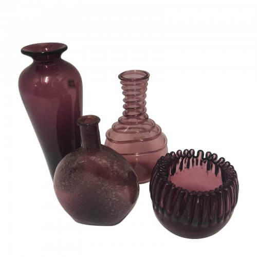 Amethyst Vases and Bowl