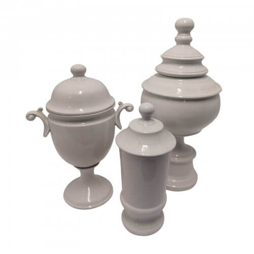 Collection of Lidded White Ceramic Vessels