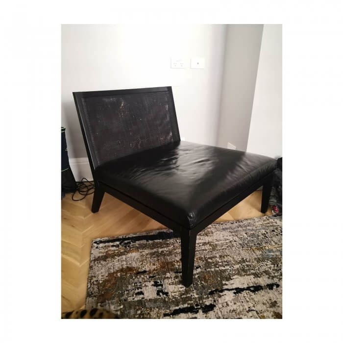 Italian Black Leather and cane Accent Chair