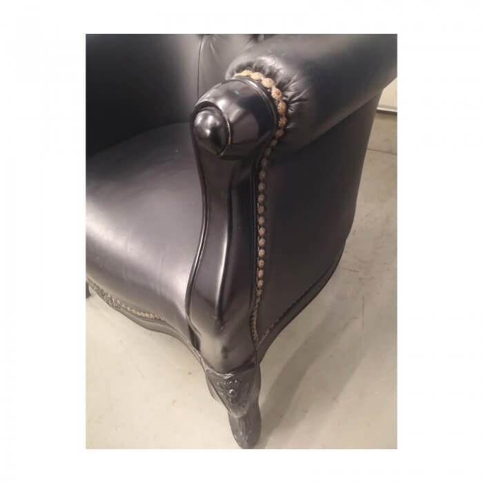Louis Style Chair in Black Leather