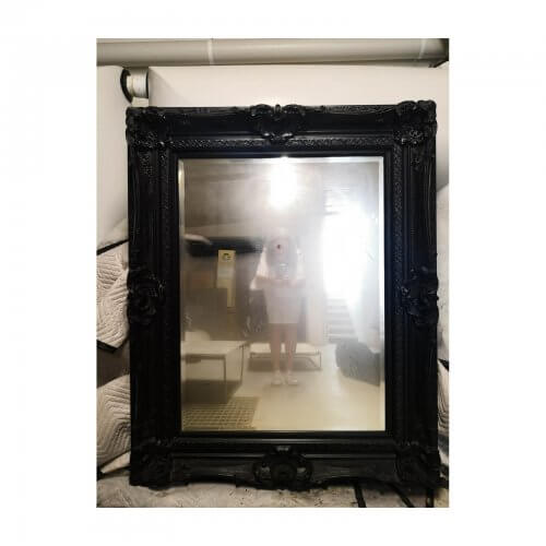 Ornate Mirror, French Style Black Resin