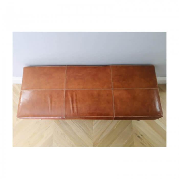 Tan Leather Ottoman with Chrome frame