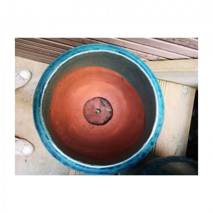 Turquoise Glazed Garden Pot