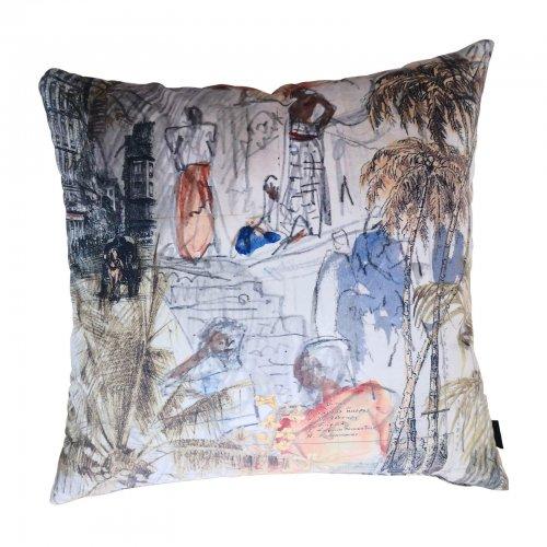 Velvet Parisian print cushions