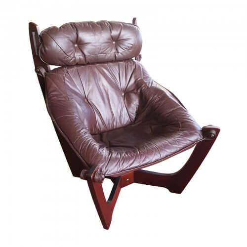 Vintage 1970s Original Luna Chairs & Ottoman by Odd Knutsen