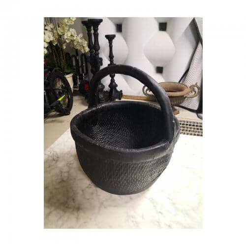 Vintage Chinese Black Woven Basket