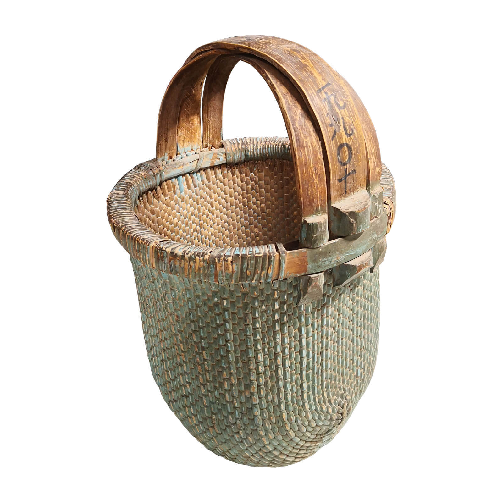 Vintage Chinese Woven Basket With Handle Two Design Lovers