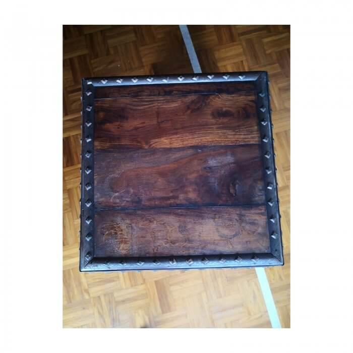 Wood Storage Box with Metal Edge