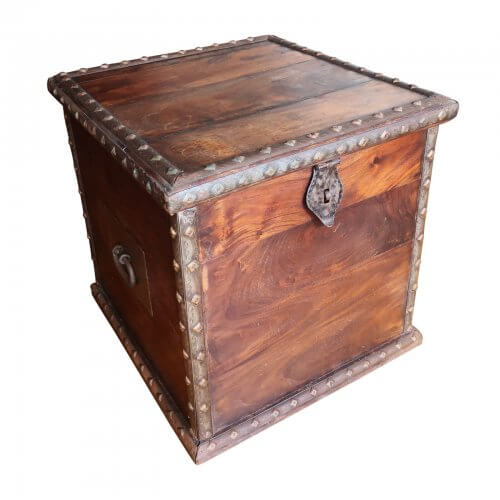Wood Storage Box with Metal Edge