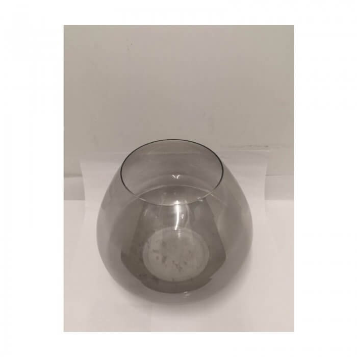 handblown grey glass hurricane lantern