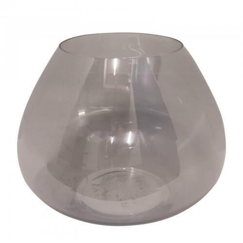 handblown grey glass hurricane lantern