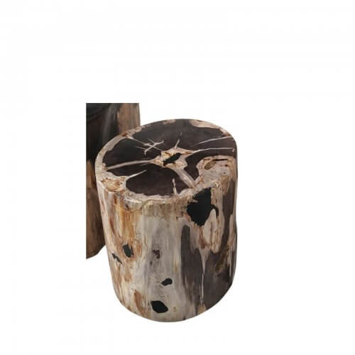 Petrified wood side table mixed brown