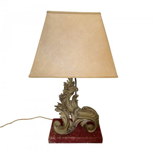 two-design-lovers-Antique Bronze Lamp with Red Velvet Base, Structured Trapezoid Paper Shades-Hero
