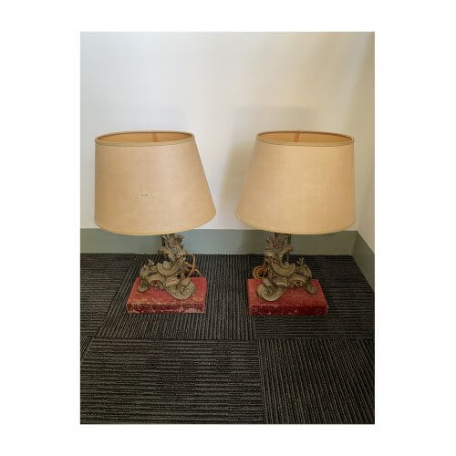 Antique Bronze Lamp with Red Velvet Base Structured Trapezoid Paper Shades