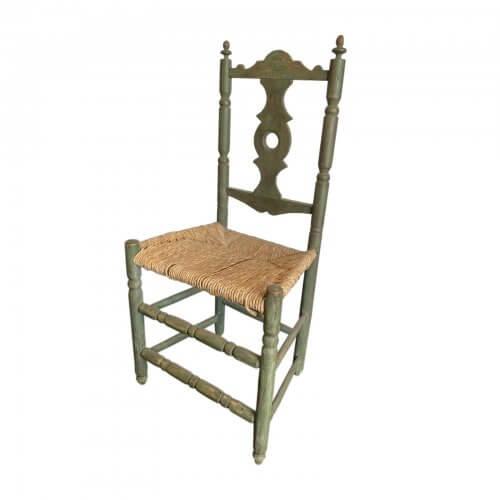 Antique rush chair green