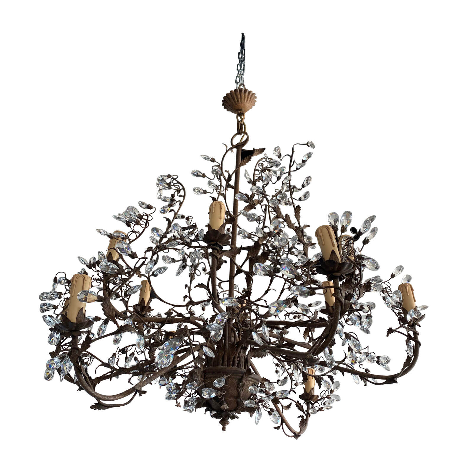 Parterre Antique French wrought Iron and crystal chandelier