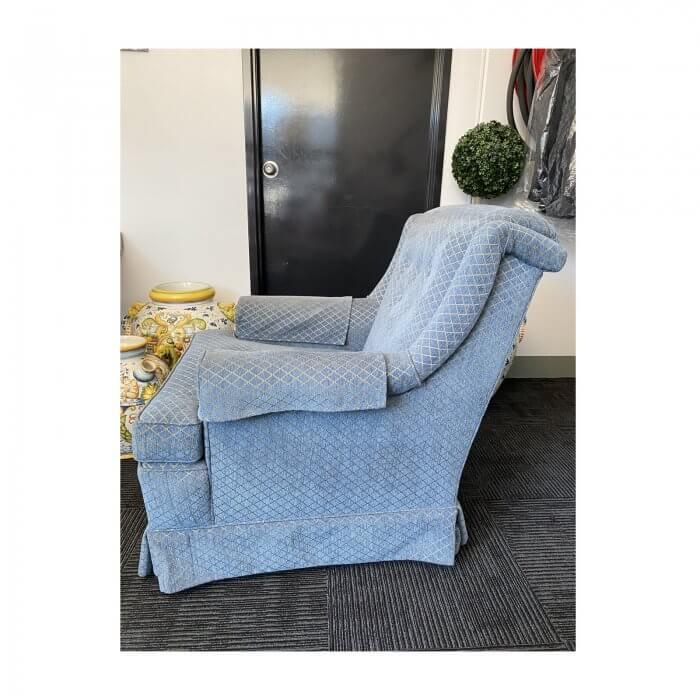 Traditional Armchair in Bule & Gold Warwick Fabric