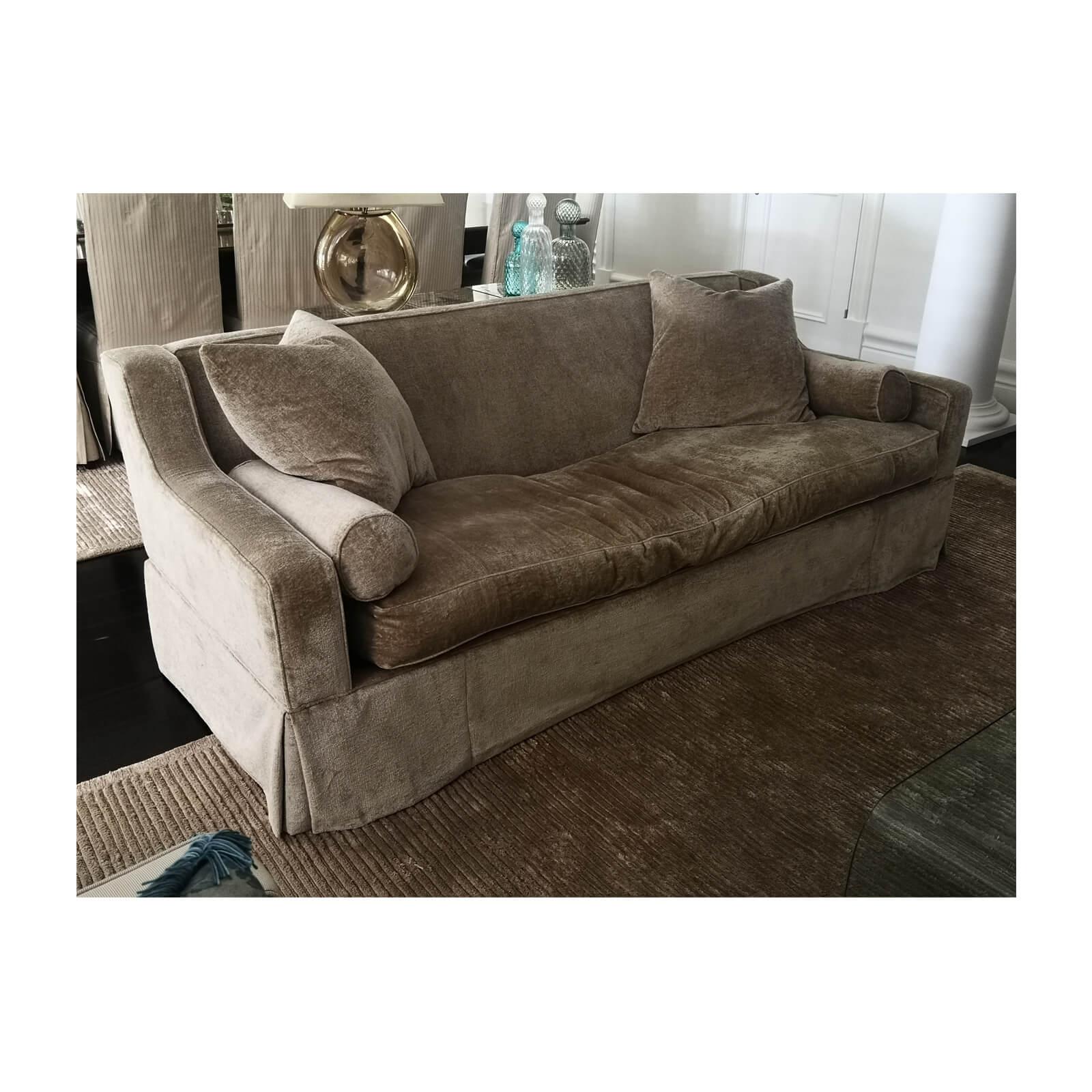 Custom Traditional velvet sofa wheat
