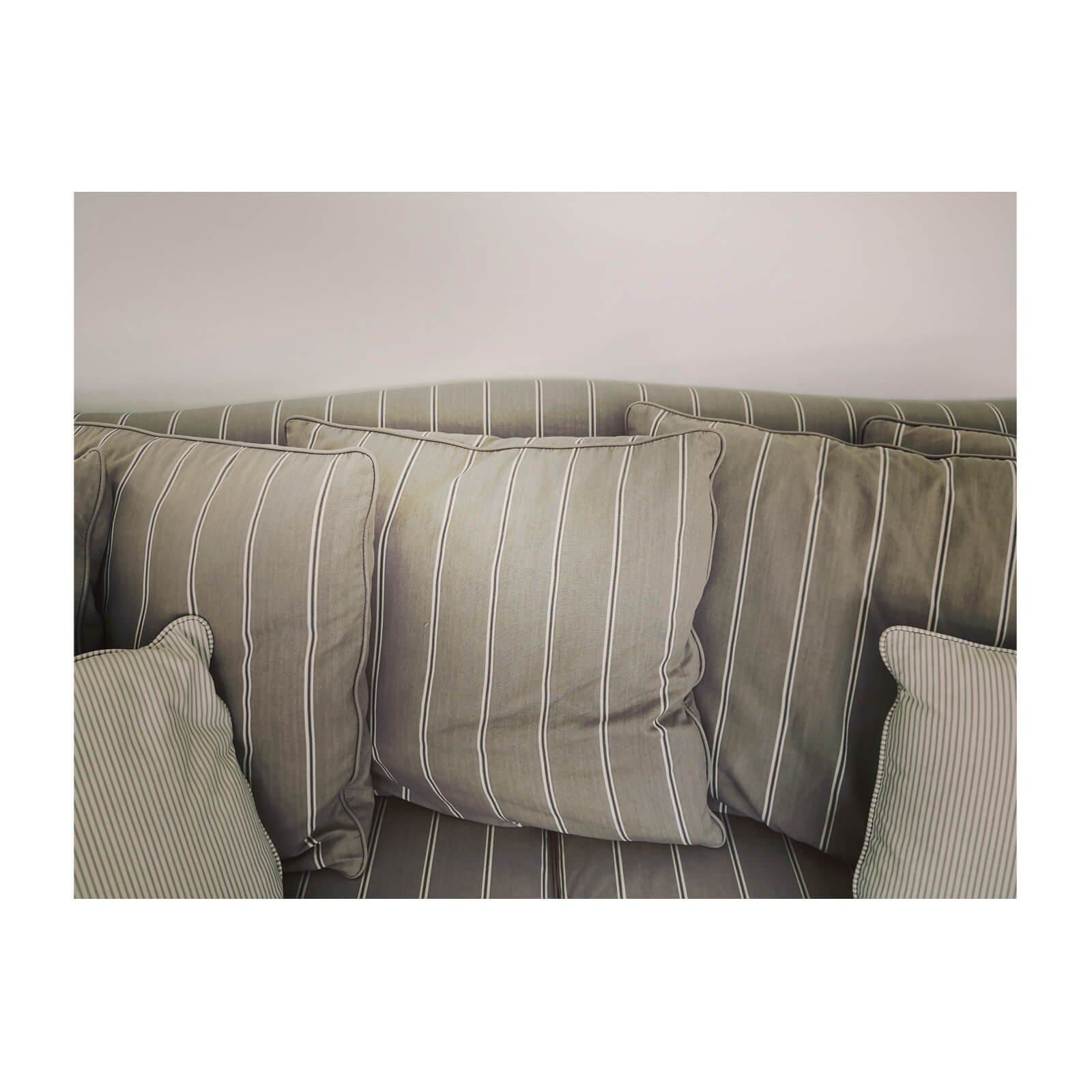 Traditional Sofa upholstered in cotton stripe
