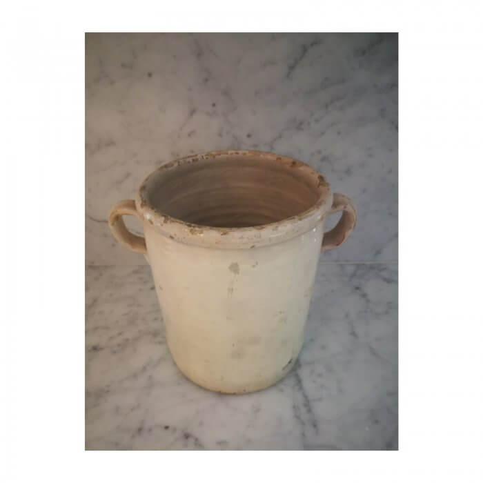 French 19th Century Jar with Handles, Glazed Ceramic