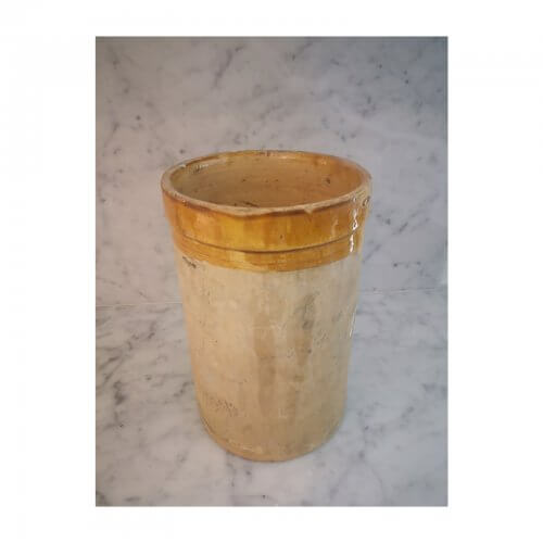 French 19th Century Jar, Ochre Glazed Rim