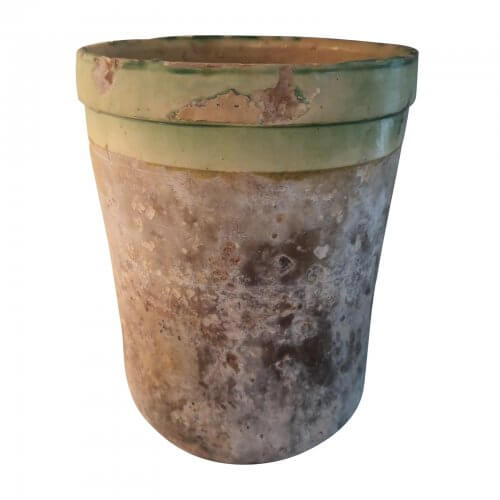 French 19th Century Jar, Green Glazed Rim