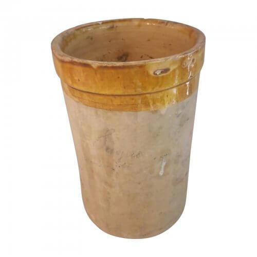 French 19th Century Jar, Ochre Glazed Rim