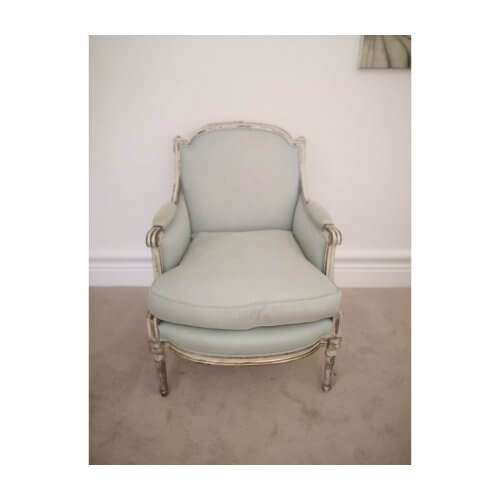 French Provincial Louis Chair in Sky Blue