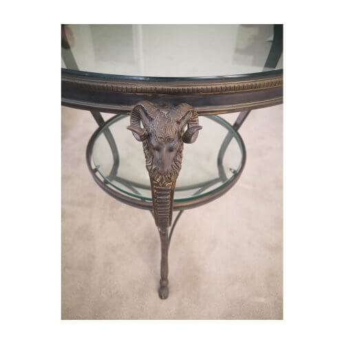 Round Glass Side Table with Decorative Metal Frame
