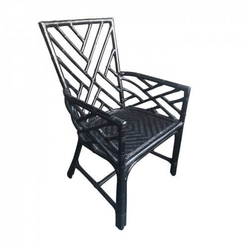 Black cane Chinoisserie style armchair