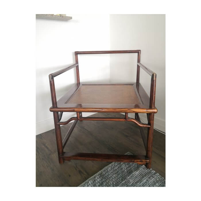 Chinese Ming Meditation chair in elm and brass detail