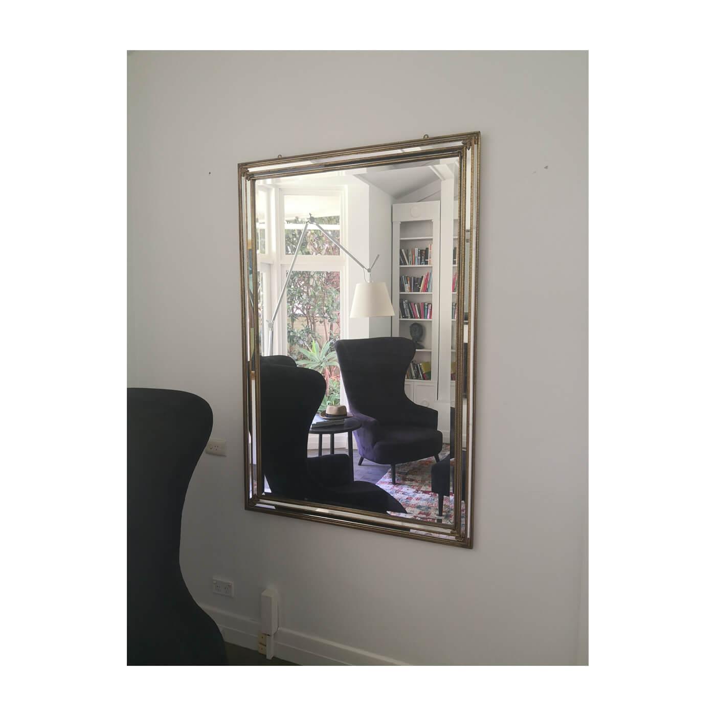 Antique gold bead edged mirror