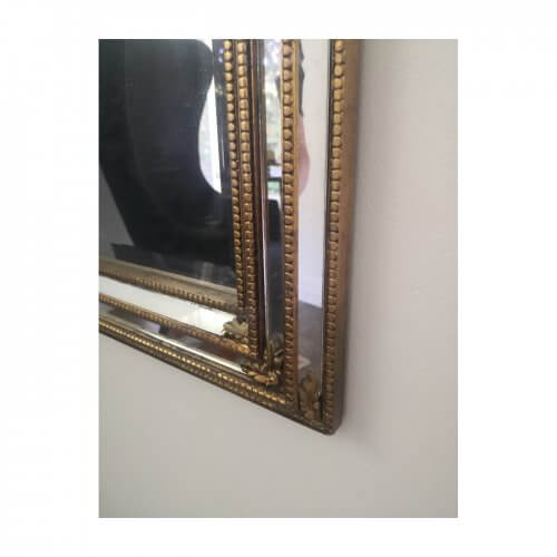 Antique gold bead edged mirror