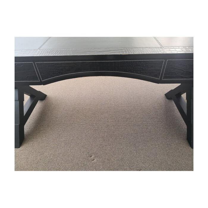 Black leather desk
