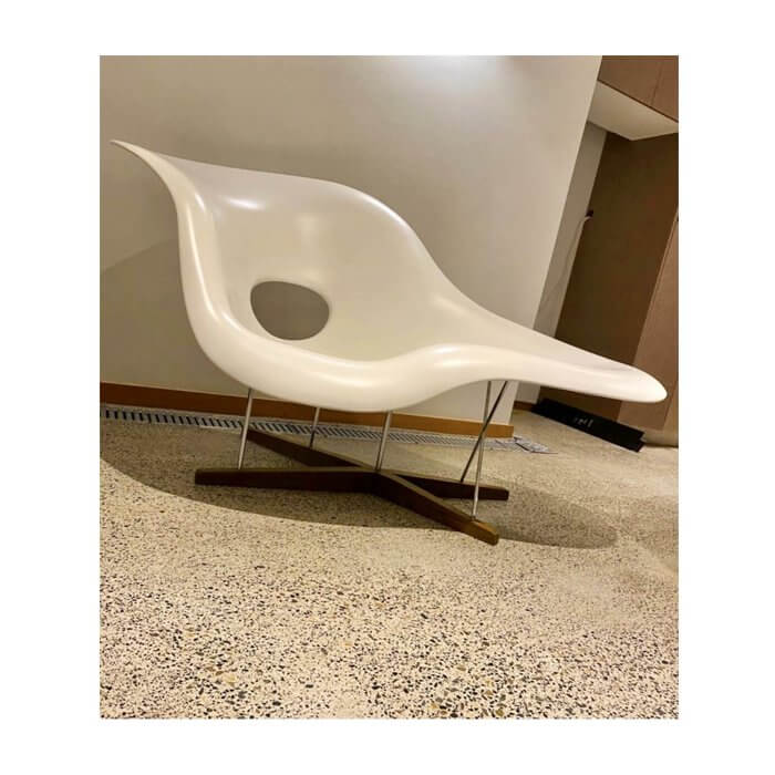 Eames La Chaise by Vitra white occasional chair
