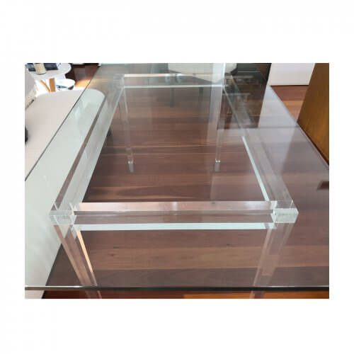 Phillip Silver Phoenix table with perspex base and glass top