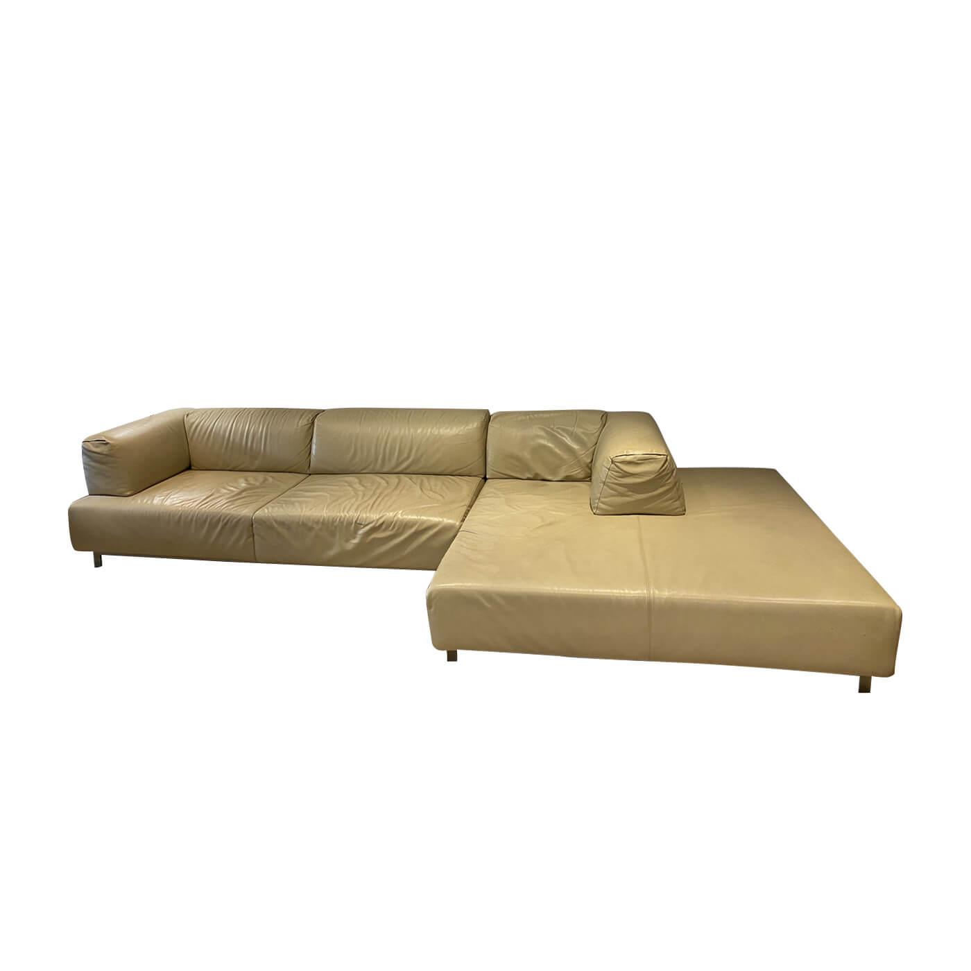 Living Divani Metro² cream leather modular sofa