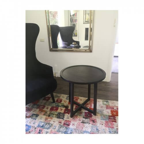 Round wood side table, 2 available