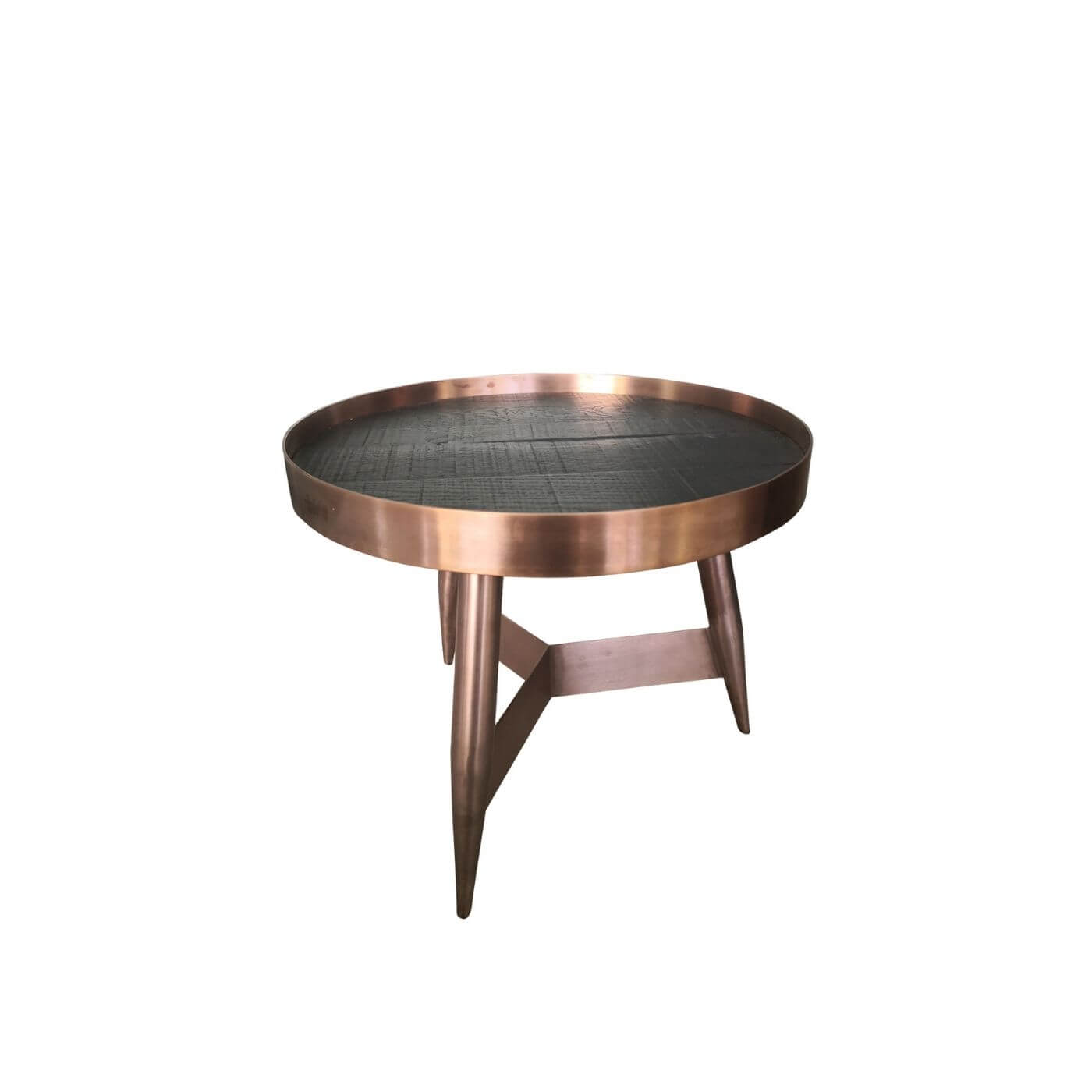 Copper rimmed side tables (pair)