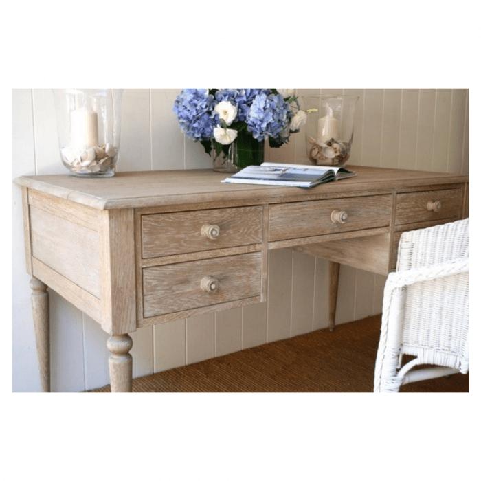 Two Design Lovers Large Rustic Coast oak desk with weathered oak finish