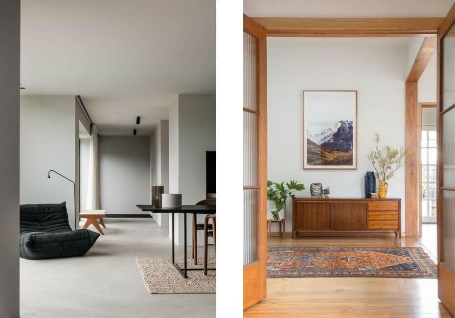 Minimal Belgian contemporary interior and minimal contemporary vintage interior