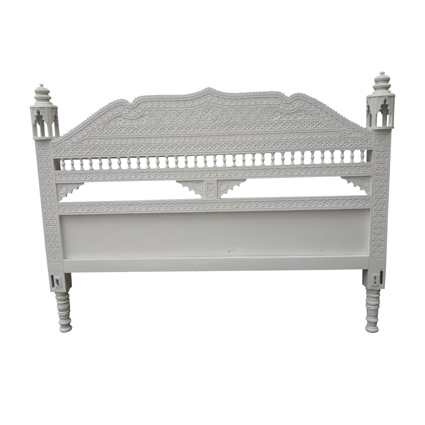 Antique Indian carved bedhead given a contemporary update with white pain finish. Floorstock on sale