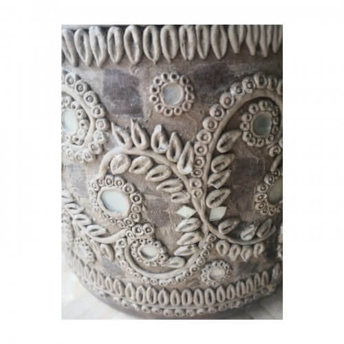 Embellished clay and ceramic vase. Designer decor, ex display stock on sale on Two Design Lovers