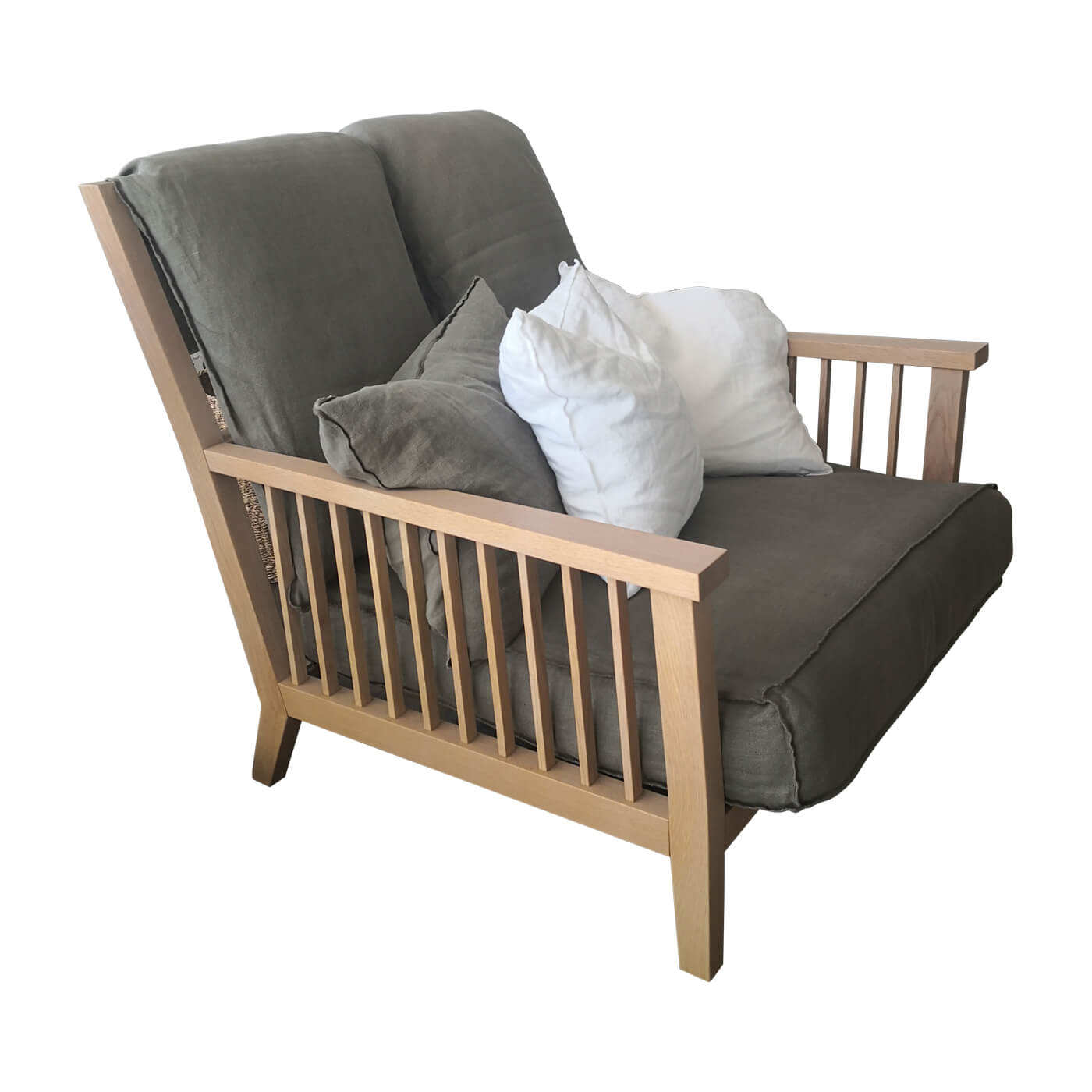 Gervasoni Gray 01 armchair in oak with grey linen cushions