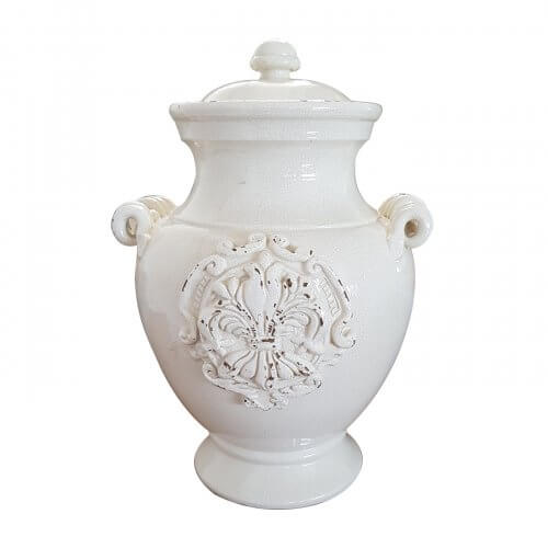 Leona Ceramics lidded antique white vase with handles