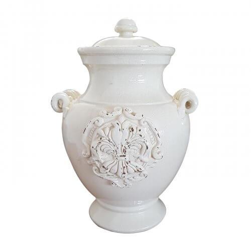 Leona Ceramics lidded antique white vase with handles